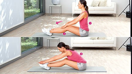 Inclinaison vers l'avant : exercice pour étirer les muscles du bas du dos - Inclinaison vers l'avant : exercice pour étirer les muscles du bas du dos
